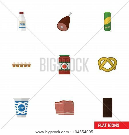 Flat Icon Food Set Of Spaghetti, Ketchup, Eggshell Box And Other Vector Objects. Also Includes Bar, Spaghetti, Eggshell Elements.