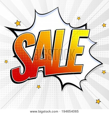 Sale pop art splash background, explosion in comics book style. Advertising signboard, price reduction, sale with halftone dots, cloud beams on white backdrop. Vector template for ad, covers, posters.