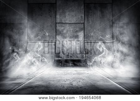 3D rendering of an smoky background of concrete