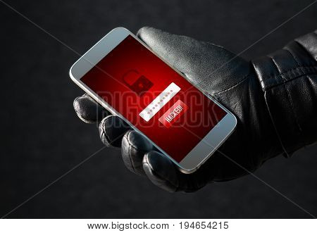 Hacked. Cyber security and online fraud concept. Mobile hacker and criminal login to personal information and data with smartphone. Thief with black leather gloves.