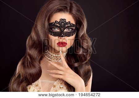 Beautiful Wavy Hair. Beauty Glamour Woman With Luxurious Long Healthy Brown Hair Wearing Lace Mask.