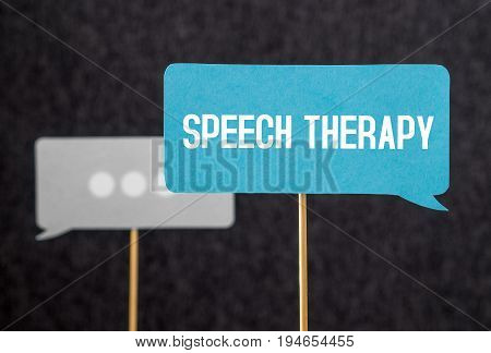 Speech therapy text on cardboard speech balloon or bubble on wooden stick. Stuttering, lisp and learning to talk concept.