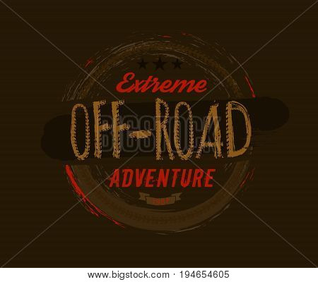 Off-road logo. Extreme competition emblem. Off-roading suv adventure and car club elements. Beautiful vector illustration with unique textured lettering isolated on a dark brown background.
