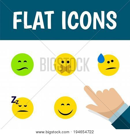Flat Icon Emoji Set Of Asleep, Hush, Tears And Other Vector Objects. Also Includes Face, Frown, Sleeping Elements.