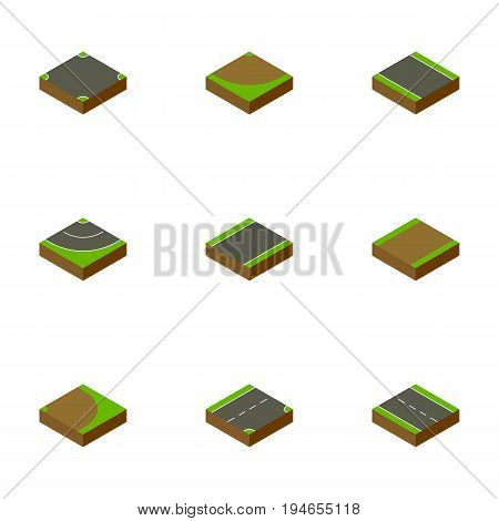 Isometric Road Set Of Unilateral, Road, Rotation And Other Vector Objects. Also Includes Driveway, Asphalt, Turn Elements.