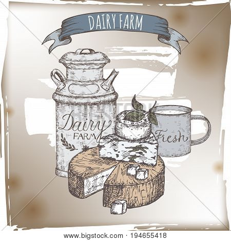 Dairy farm template with cheese plate, metal milk can and enamel cup. Includes hand drawn ribbon banner.