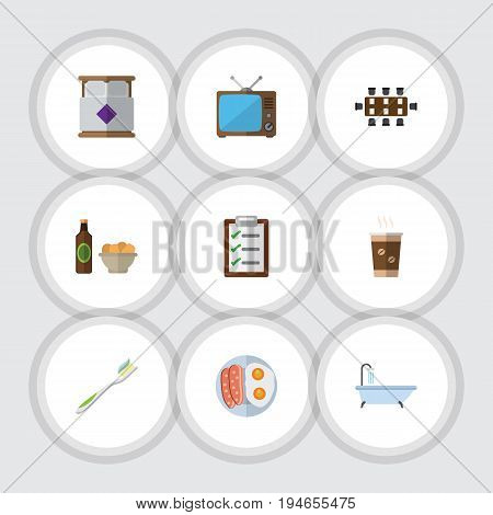 Flat Icon Lifestyle Set Of Questionnaire, Television, Boardroom And Other Vector Objects. Also Includes Boardroom, Toothbrush, Sausage Elements.
