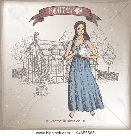 Milkmaid holding milk pitcher and traditional farm house hand drawn vector color sketch. Great for farmer product and travel ads, brochures, labels.