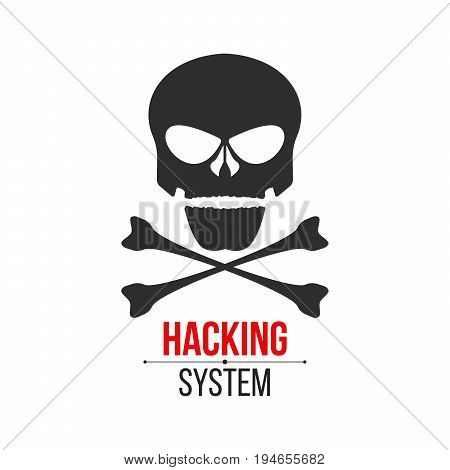 Skull icon on white background. The hacker hacked the system. Cyber crime. Web programming. Icon in a flat style. Vector illustration