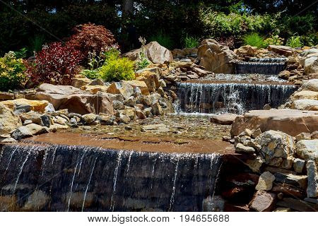 Nature landscape of waterfall cascade in the is popular travel placewith waterfalls in mountain forest waterfall landscape.