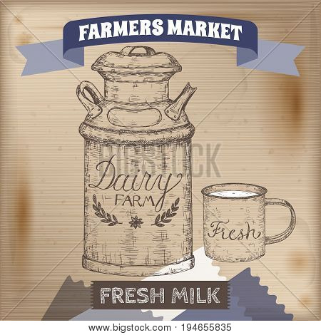 Vintage farmers market label with metal milk can and enamel mug. Placed on wooden texture. Includes hand drawn elements.