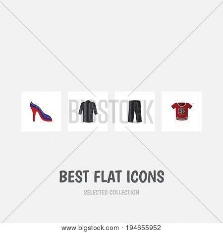 Flat Icon Clothes Set Of Heeled Shoe, Pants, Uniform And Other Vector Objects. Also Includes Kimono, Heeled, Clothes Elements.