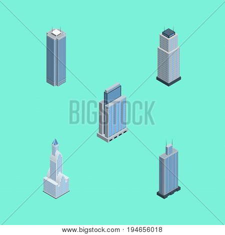 Isometric Skyscraper Set Of Business Center, Urban, Skyscraper And Other Vector Objects. Also Includes Business, Center, Residential Elements.