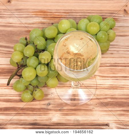 Glass of white wine and ripe organic green grapes isolated on vintage wooden background