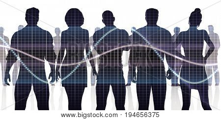 Silhoutte of Business People Standing in a Line Row 3D Render