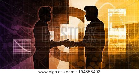Business Partners with a Handshake Concept Silhouette 3D Render
