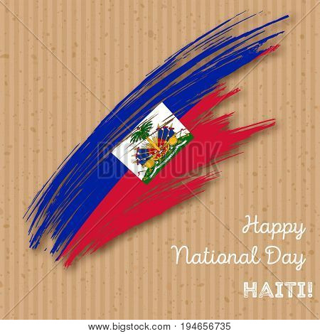 Haiti Independence Day Patriotic Design. Expressive Brush Stroke In National Flag Colors On Kraft Pa