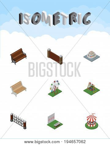 Isometric Urban Set Of Barrier, Seesaw, Recreation And Other Vector Objects. Also Includes Attraction, Hedge, Aiming Elements.