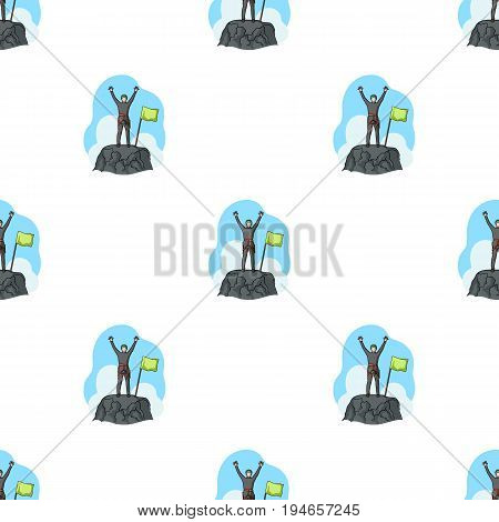 Climber on conquered top.Mountaineering single icon in cartoon style vector symbol stock illustration .