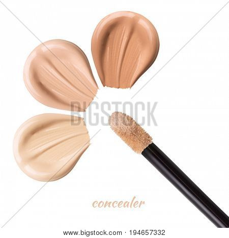 Smears of concealer for face. Isolated on white background