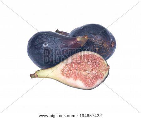 Fresh ripe organic figs isolated on white background