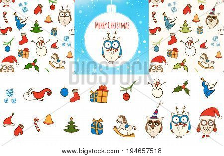 Set of vector seamless Christmas Pattern, Christmas card and Christmas vector design elements. Doodle Christmas symbols, icons.