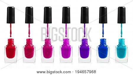 Collection of different nail polishes.Isolated on white background