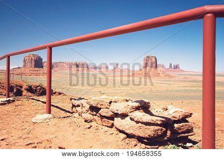 USA, Arizona, railing in Monument Valley