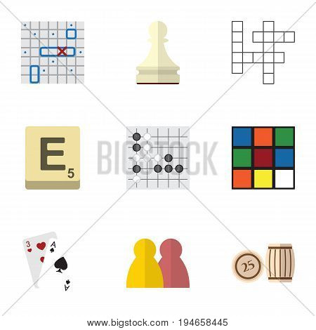 Flat Icon Play Set Of Cube, Mahjong, Gomoku And Other Vector Objects. Also Includes Alphago, Battle, Gambling Elements.