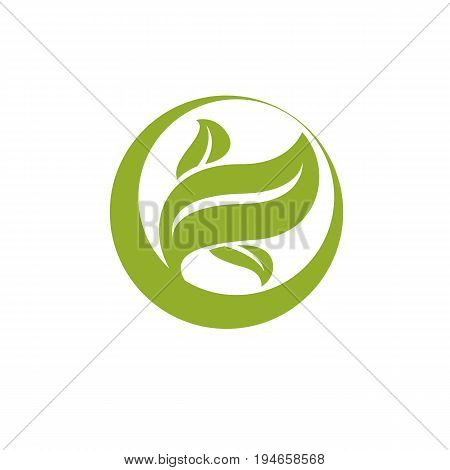 Green leaves simple graphic illustration. Phytotherapy metaphor vector graphic emblem can be used in for use in alternative medicine rehabilitation or pharmacology.