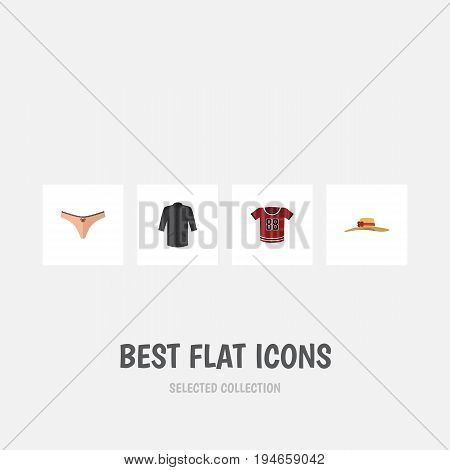 Flat Icon Clothes Set Of Uniform, Elegant Headgear, Lingerie And Other Vector Objects. Also Includes Kimono, Underwear, Hat Elements.