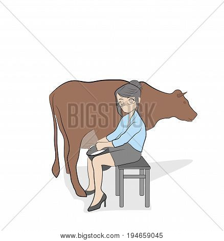 Woman in office clothes milking cow. vector illustration.