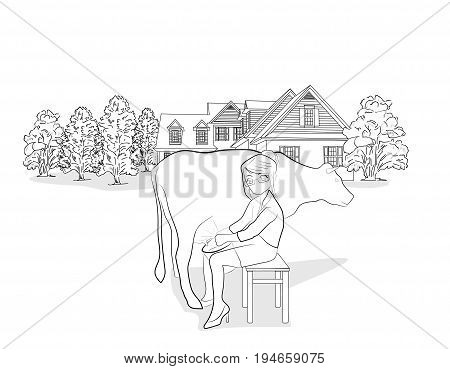 A woman milking a cow against the backdrop of a country house. vector illustration.