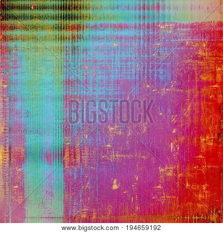 Vintage background, antique grunge backdrop or scratched texture with different color patterns: purple (violet); pink; green; blue; red (orange); cyan