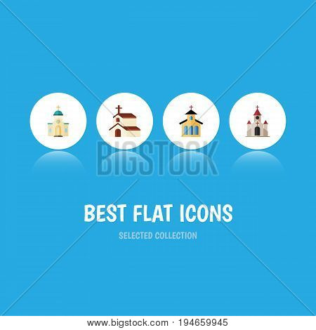 Flat Icon Church Set Of Religion, Religious, Catholic And Other Vector Objects. Also Includes Church, Faith, Religious Elements.