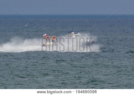 PATROL BOAT - The police boat maneuvers at sea