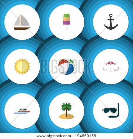 Flat Icon Season Set Of Sundae, Coconut, Yacht And Other Vector Objects. Also Includes Ball, Diving, Table Elements.