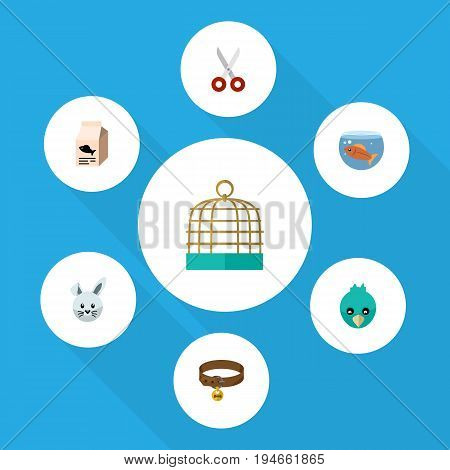 Flat Icon Pets Set Of Bird Prison, Sparrow, Fishbowl And Other Vector Objects. Also Includes Prison, Clippers, Box Elements.