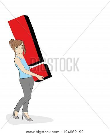 The woman is holding an exclamation point. vector illustration.