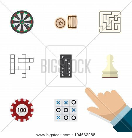 Flat Icon Games Set Of Pawn, Arrow, Poker And Other Vector Objects. Also Includes Game, Table, Pawn Elements.