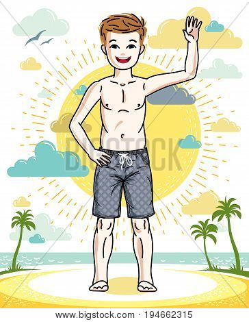 Cute little teen boy standing in colorful stylish beach shorts. Vector character. Fashion and lifestyle theme cartoon.
