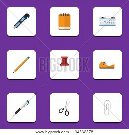 Flat Icon Tool Set Of Fastener Page, Drawing Tool, Date Block And Other Vector Objects. Also Includes Blade, Drawing, Knife Elements.