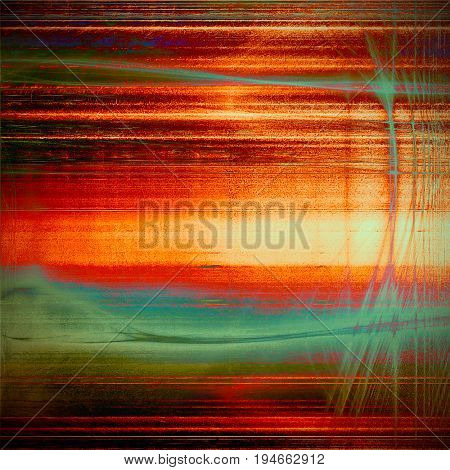 Vintage elegant background, creased grunge backdrop with aged texture and different color patterns: yellow (beige); green; blue; red (orange); cyan; pink