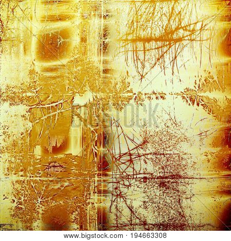 Grunge texture in ancient style, aged background with creative decor and different color patterns: yellow (beige); brown; red (orange); white