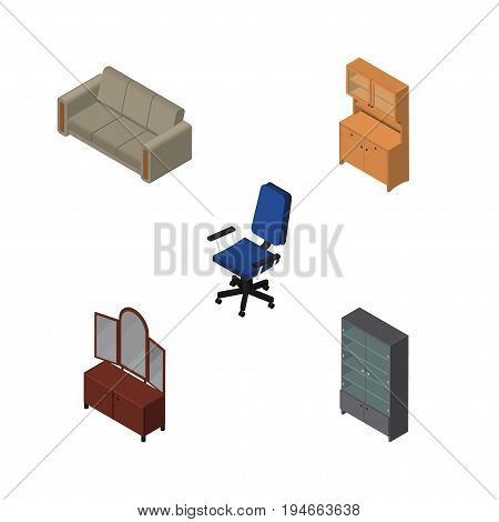 Isometric Furnishing Set Of Sideboard, Couch, Drawer And Other Vector Objects. Also Includes Closet, Chair, Couch Elements.