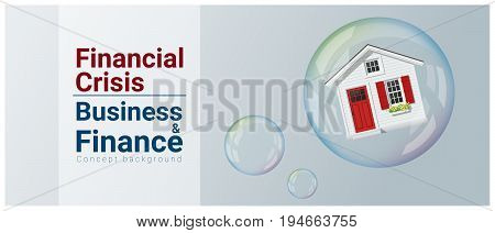 Business and Finance concept background with housing bubble , vector , illustration