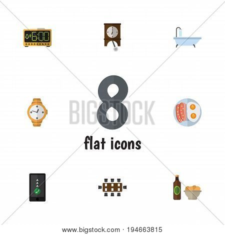 Flat Icon Oneday Set Of Electric Alarm, Fried Egg, Clock And Other Vector Objects. Also Includes Shower, Conference, Telephone Elements.
