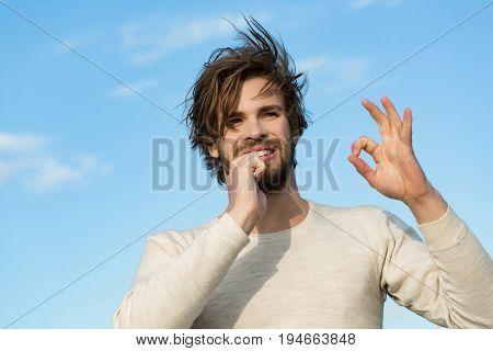 Ok Gesture Of Happy Man Brush Teeth With Toothpaste, Metrosexual
