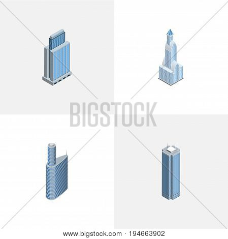 Isometric Skyscraper Set Of Urban, Building, Cityscape And Other Vector Objects. Also Includes Building, Urban, Residential Elements.