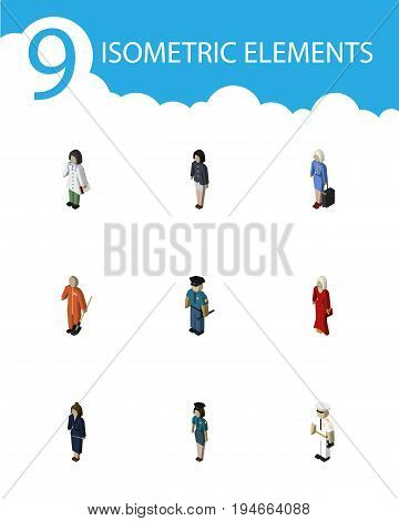 Isometric People Set Of Female, Hostess, Girl And Other Vector Objects. Also Includes Policeman, Female, Lady Elements.